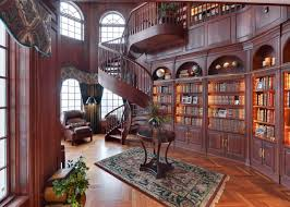 home library lighting. Brown Nuance Modern Wood Library With Architectural Rug On The Wooden Floor It Also Has Warm Home Lighting