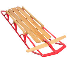 best choice products 53in kids wooden snow sled sleigh toboggan w metal runners flexible