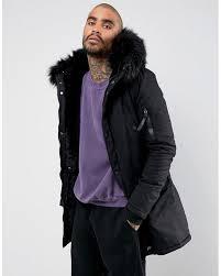 sixth june parka coat in black with black faux fur hood for men lyst