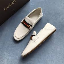 replica gucci leather driver with web white ms02251 whole