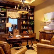 masculine home office. Masculine Home Office With Brown Leather Armchairs And Built-In Bookshelf I