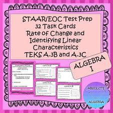 staar eoc algebra i task cards a 3b and a 3c linear characteristics