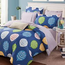 vibrant blue leaf print cotton bedding set 1 600x600 vibrant blue leaf print cotton bedding