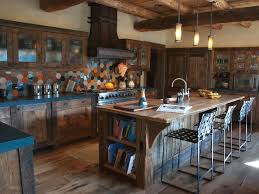 diverse kitchen with recovered wood cabinets and island barn wood islands
