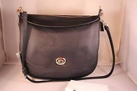 Image is loading COACH-Turnlock-Hobo-in-Pebble-Leather-Bag-36762-