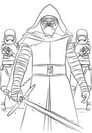 kylo ren and the first order stormtroopers coloring page from the force awakens select