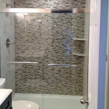 linda j glass tile shower wall parker co All About Bathrooms
