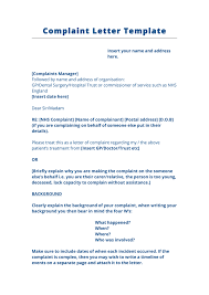 complaint letter template uk in word