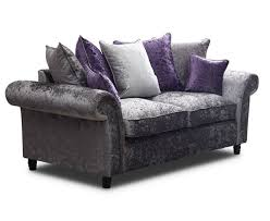 cashmere crushed velvet silver 2 seater