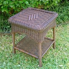 resin wicker steel 2 tier patio side table