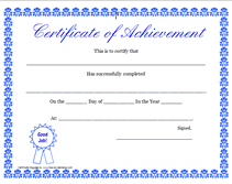 Printable Achievement Certificates Printable Certificate Of Achievement Certificates Pinterest