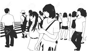 Illustration Of Crowd Of People Walking On The Street In Black