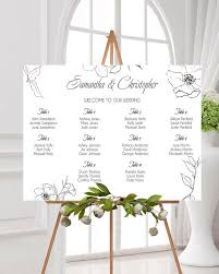 Seating Chart Design Wedding Seating Chart Floral Minimalist Seating Plan Guest