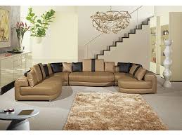 5pcs camel dark brown sectional sofa