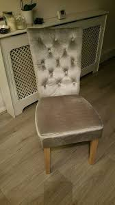grey crushed velvet dining or dressing table chair