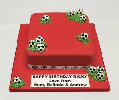 8 Square Red Football Cake Boys Birthday Cakes Celebration