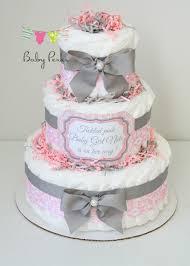 Baby Girl Damask Pink \u0026 gray Diaper Cake Baby Shower