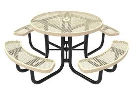 rhino thermoplastic metal round picnic table quick ship portable expanded metal