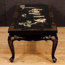 french lacquered and painted chinoiserie coffee table for