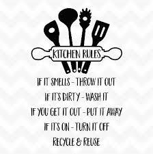 kitchen rules vinyl wall art sticker