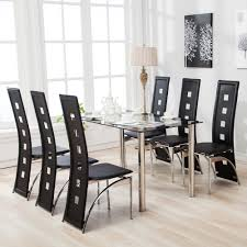 luxurious 7 piece dining table set and 6 chairs black glass metal kitchen room breakfast