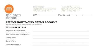 Free Generic Credit Application Form Printable Business Crevis Co
