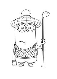 Small Picture Kevin the Minion as Golf Player in Despicable Me Coloring Page
