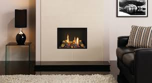 Gazco Riva2 500 Edge gas fire with Black Reeded lining shown with Valencia  Crema Polished fireplace surround tiles