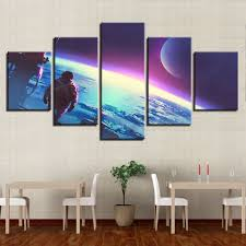 Canvas <b>Modular Abstract</b> Pictures Home Decor <b>5 Pieces</b> Astronauts ...
