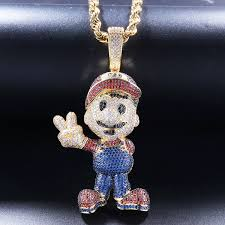 hip hop super mario pendant necklace jewelry gold silver copper material bling aaa cz with free