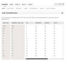 J Crew Men S Shirt Size Chart J Crew Size Chart Women Www Bedowntowndaytona Com