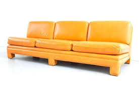 small armless sofa mid century modern sofa in tangerine orange leather for small armless corner small armless sofa
