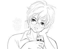 メガネの男の子線画イラスト No 1165242無料イラストならイラストac