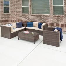 walker edison furniture company brown 7 piece wicker patio conversation set with white cushions 4