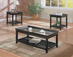 Contemporary Glass Top Coffee Tables Black Contemporary 3pc Coffee Table Set W Beveled Glass Tops