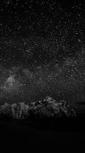 Starry Night Sky Mountain Nature Bw ...