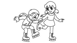 Tranh tô màu Xuka vui vẻ bên Nobita trượt băng « in hình này