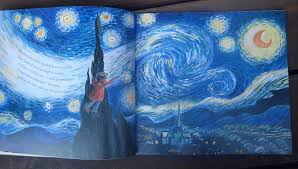 she climbed through the picture frame into the painting to claim one of van gogh s ling stars to show her grandma but as she climbs back out of the