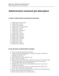 Admin Assistant Job Description Resume Administrative Assistant Job