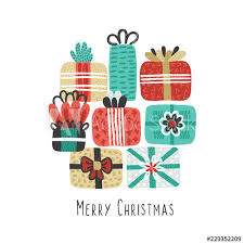Merry Christmas Banner Print Vector Holiday Background With Different Textured Gift Boxes Hand