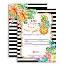 Tropical Party Invitations Amazon Com Pineapple Birthday Party Invitations With Tropical