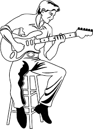 Small Picture Illustration Of A Man Playing An Electric Playing The Guitar