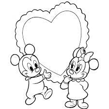 Disegno Di Topolino E Minnie Baby Cuore Da Colorare Per Bambini