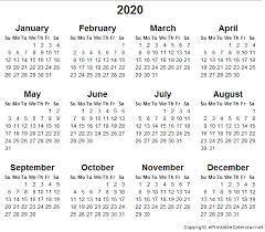 2015 2020 Calendar Printable Printable Yearly Calendar