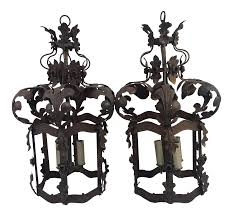pair french lanterns newly rewired