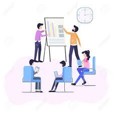 Work Meeting Improve Business Process Flat Banner Manager Analyze