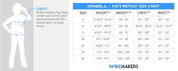 O Neill Youth Size Chart Oneill Youth Reactor Ii 3 2 Full Wetsuit