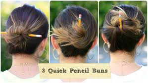 Hairstyles For School Step By Step 3 Easy Pencil Bun Ideas Back To School Hairstyles Cute Girls