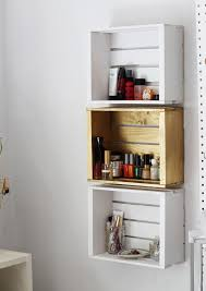 bathroom wall rack from crates