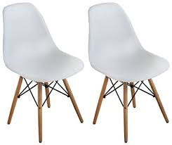 buschman set of two white eames style mid century modern dining room wooden legs chairs